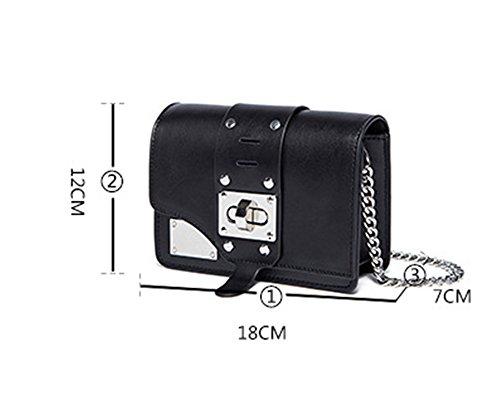 Xinmaoyuan Damen Handtaschen Twist Niet breiter Schultergurt Kette Handtasche Schulter Messenger kleine Quadratische Tasche Handtaschen aus Leder, Weiß Schwarz