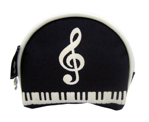Preisvergleich Produktbild Musik-Themen Schwarz Weiß Geprägte Violinschlüssel Keyboard Design Kleine Geldbörse Reißverschluss-Tasche
