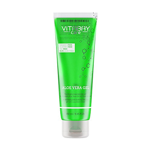 Aloe Vera Gel 250 ml - 99.9% Aloe Vera plus Gurken Extrakt Feuchtigkeitsspendend - Hautberuhigend