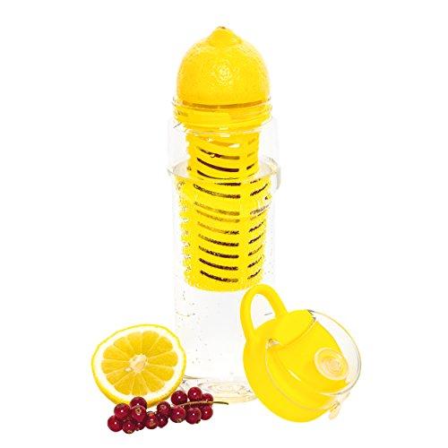 Trinkflasche mit Früchtebehälter & Saftpresse, Trinkflasche mit Saftpresse & Fruchteinsatz, Wasserflasche mit Fruchteinsatz & Entsafter, Tritanflasche, bpa frei, Flasche für Fruchtschorlen, 800 ml, 2 in 1 (Obst-entsafter-wasser-flasche)