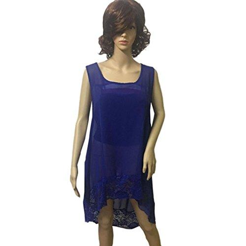 Oyedens Taglia Grossa Maglietta T-Shirt Da Donna Canotta Casual Senza Chiffon Maniche Sciolto Abbigliamento Donna Camicetta Moda Tops Plus Size L-5XL Blu