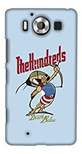 PrintHaat Designer Back Case Cover for Microsoft Lumia 950 :: Nokia Lumia 950 (angry cartoon with bow and arrow :: tough competition – death below the hundreds :: look up in the sky :: sky is the limit :: in blue, red and green)