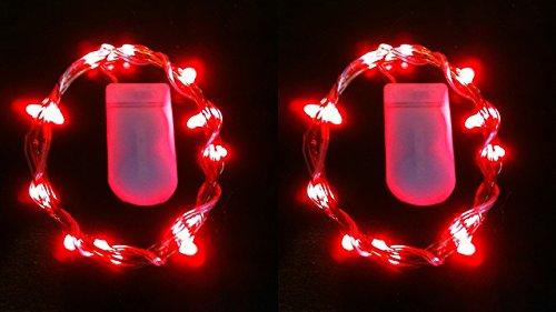 HLS 2 x 30 LED CW Luces de la hada de la batería adentro Rojo