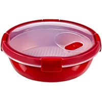 Curver - hermético Smart Micro Vaporera Redonda 1,1L. - Apto para Microondas - Con Rejilla para Cocinar al Vapor - Descongelar y Recalentar - Color Rojo