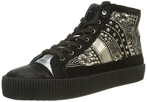 Xyxyx Sneaker, Baskets Basses Femme Noir - Schwarz (Black/Silver)