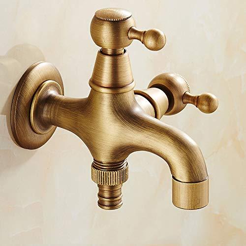 Grifo de la vendimia de latón antiguo montado en la pared cuarto de baño del grifo del fregadero grifo de visón grifo de jardín lavadora C