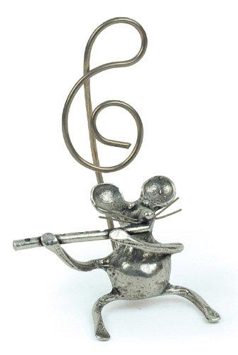 Souris Flûte Traversière Miniature - Porte-Photo - Etain 95,5% - Fabriqué en France - Objet déco - Cadeau musique