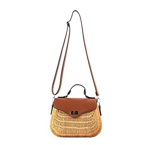 Kentop Stroh Crossbody Tasche Frauen Umhängetasche Rattan Weben Schultertasche, Schultergurt verstellbar (Braun) - Stroh Und Leder Tasche