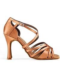 Zapato de baile de mujer Dernier para salsa, bachata, kizomba y bailes latinos en raso cobre