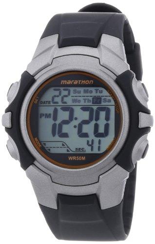 Timex - T5K6434E - Marathon - Montre de Sport Homme - Quartz Digital - Cadran Gris - Bracelet Résine Noir