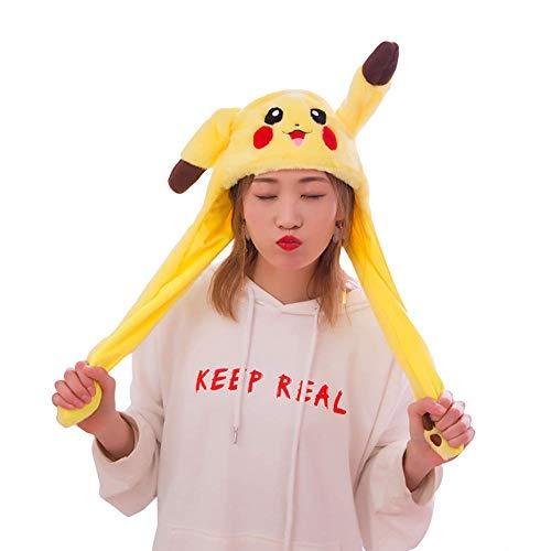 Pikachu Kostüm Hut - popluxy Beweglicher Ohr-Pikachu-Hut,Plüsch Pikachu Ohren Stirnband Halloween Tier Ostern Cosplay Pikachu als Geschenk für Frauen und Kinder