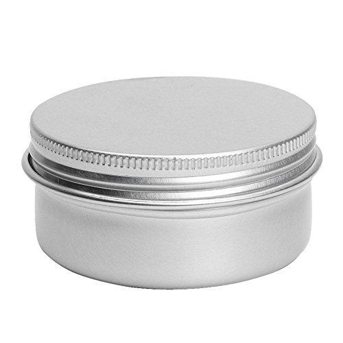 SODIAL(R) trousse de maquillage et Cas de baume et Soap Box en metal d'argent chaque ont 50 ml 5 pieces