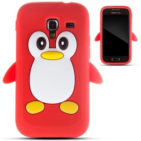 Zooky® Rouge pingouin silicone Coque / Étui / Cover pour Samsung Galaxy Ace 2 (I8160)
