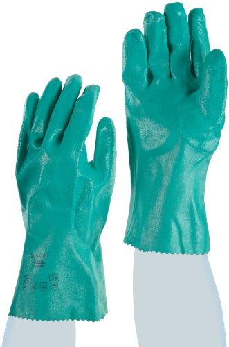Ansell Sol-Knit 39-122 Guanto in Nitrile, Protezione Contro le Sostanze Chimiche e Liquide, Verde, Taglia 8 (Sacchetto di 12 Paia)
