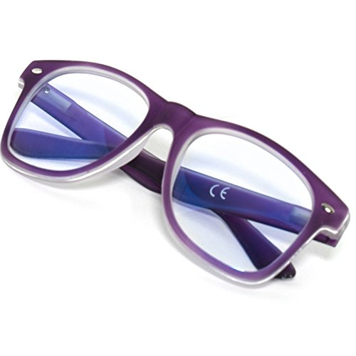 Damen Herren Lesebrille +1.0 +1.5 +2.0 +2.5 +3.0 +3.5 +4.0 Blue Light Filter Brille Blendschutz, Kratzfestes Objektiv Computer TV Anti Glare MFAZ Morefaz Ltd (1.5 Anti Glare, Purple)