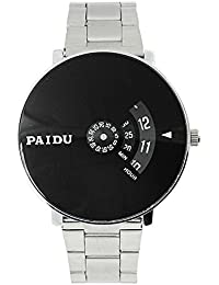 Glowish New Arrival Special Collection Paidu Round Analogue Black Dial Men's Watch 58897 | Fashion Wrist Watch...