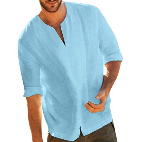 Vovotrade Moda Primavera-Estate 2019 T-Shirt Uomo Manica Corta in Cotone e Lino Tinta Unita Casual Camicie
