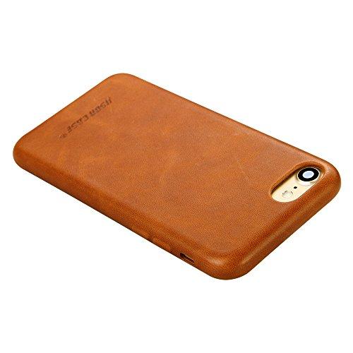 Jisoncase VINTAGE Handytasche iPhone 7 Hülle, Grau, Leder, JS-IP7-02A64 Braun