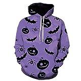 Coole-Fun-T-Shirts - Felpa con cappuccio unisex con stampa 3D Scary Pumpkin, a maniche lunghe, oversize, L, Lilla, 1