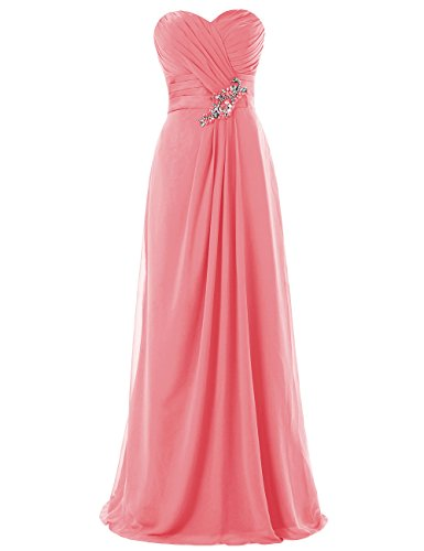 Dresstells, Robe de soirée robe de cérémonie robe de demoiselle d'honneur bustier en cœur longueur ras du sol Corail