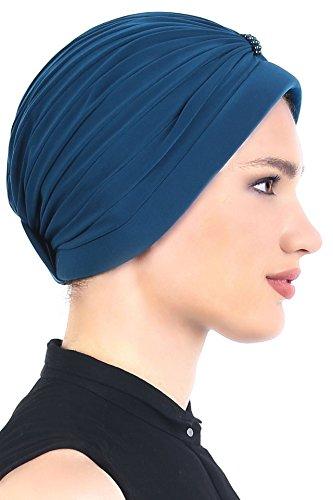 Turban élégant avec des détails de perles Perte de Cheveux, Cancer, Chimio Sarcelle Bleu