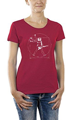 Touchlines Damen T-Shirt Da Vinci Rock Guitar Girlie, Fuchsia, XXL, B210513GT (Da Vinci Guitar Shirt)