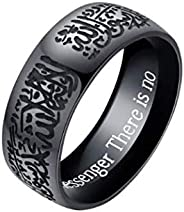 8mm steel Men rings Engraved letter Islamism Rings Religion Muslim finger ring jewelry-US10 size