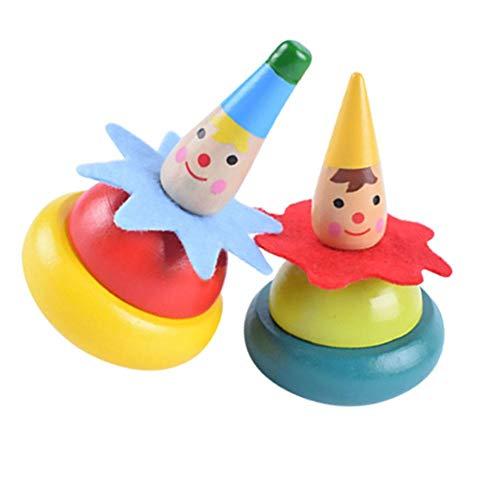 2 Packs Handgefertigte Bemalte Hölzerne Spinning Tops Lernspielzeug Happy Clown Craft für Kinder ()