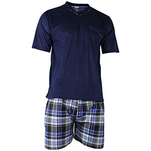 Herren Schlafanzug Shorty T-Shirt uni Hose im Karolook kurz 2-tlg in 5 Farben - Qualität von Lavazio®, Größe:2XL, Farbe:dunkelblau (Herren T-shirts Kurze)