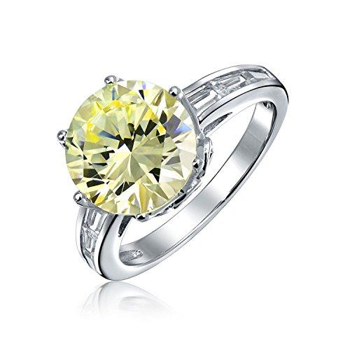 Bling Jewelry Argento 925 Corona giallo luce CZ anello di fidanzamento