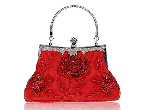 MaoDaAiMaoYi Handtaschen Damen Retro Schwere Stickerei Abendkleid Tasche Chic Couture Bag Brautkleid Mode Living Clutch Schulter Cross Bag (Color : Rot, Size : One Size) -