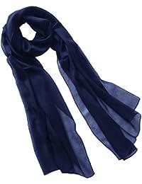 dc1320c33fedc1 Nella-Mode Uni-Farbener Seidenschal, ca. 180x50 cm; Schal aus reiner Seide;  Weiss, Schwarz, Lila, Rot, Blau,…
