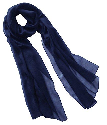 Nella-Mode Uni-Farbener Seidenschal, ca. 180x50 cm; reine Seide; Farbe dunkelblau (Navyblau)