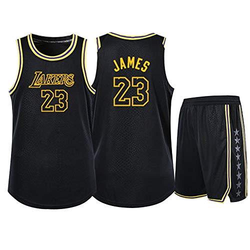 # 23 Lebron James Basketballtrikot, USA Los Angeles Lakers Basketballkleidung, 90S Hip Hop-Kleidungsparty, Mesh-Polyester-Tanktops (Jugend/Erwachsener) XS-XXXL-Black-S