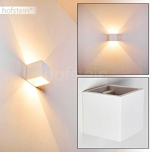 leuchte Mazara aus Keramik in Weiß – Eckige Zimmerlampe individuell bemalbar – Wandleuchte mit Up&Down-Effekt und GU9-Fassung – LED-fähig (Up-leuchten)
