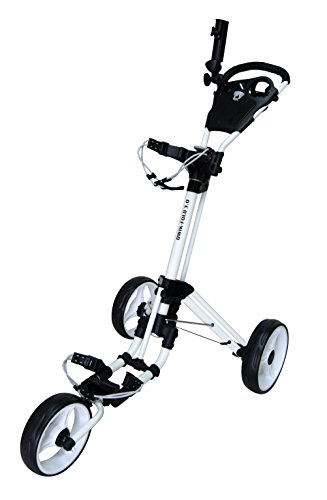 QWIK-FOLD 3 WHEEL GOLF TROLLEY PUSH PULL GOLF CART - FOOT BRAKE - ONE SECOND TO OPEN & CLOSE! (White/White)
