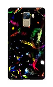 AMEZ designer printed 3d premium high quality back case cover for Huawei Honor 7 (colourful black pattern)