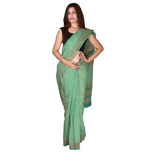 PK Impex Sarees Collection Multi Colour Saree Kota Doria Kota Cotton Silk Saree (P-25_Hand Block Printed Green_Free Size)
