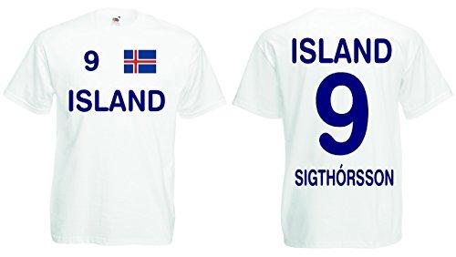 Island EM 2016 Trikot Sigthorsson Fanshirt T-Shirt Weiss