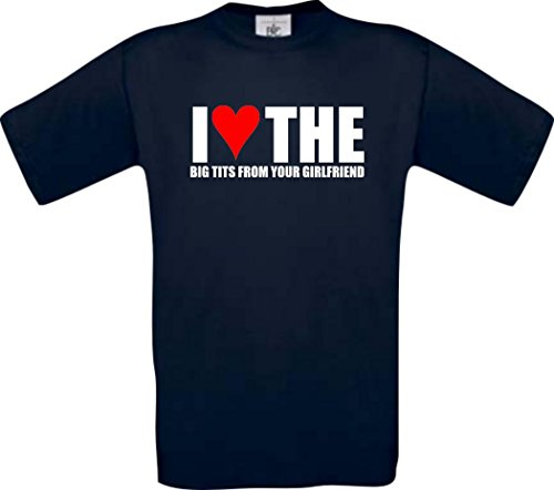 Preisvergleich Produktbild ShirtInStyle T-Shirt I Love The Big Tits From Your Girlfriend, blau,S