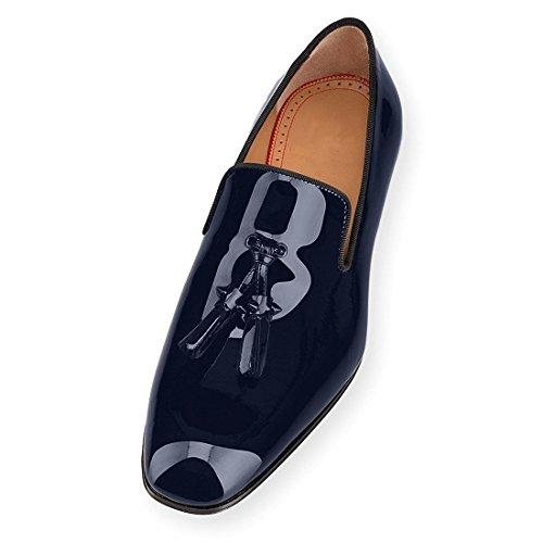 Cuckoo Robe en Cuir Verni Noir Chaussures Mocassins avec Glands Bleu