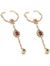 Jewar Mandi Gold Plated White Glass Stone Pearl Chain Bracelet For Women 7835