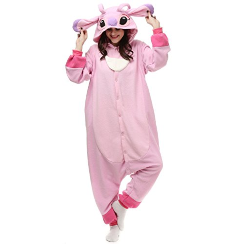 Albrose Damen Blouson Jumpsuit Gr. L, Rosa, Stitch (Stich Pajama Kostüm)