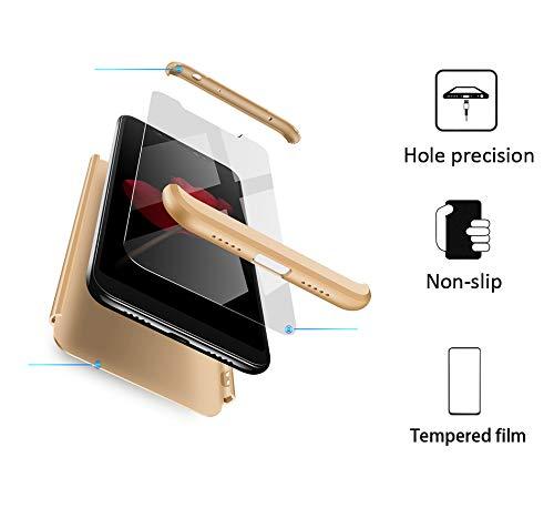BESTCASESKIN Funda Xiaomi Note 6 Pro, Carcasa Móvil de Protección de 360° 3 en 1 Desmontable con HD Protector de Pantalla Carcasa Caso Case Cover para Xiaomi Note 6 Pro (Oro)
