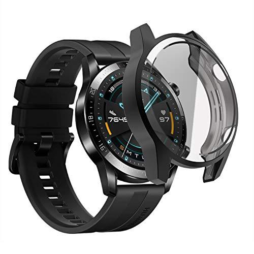 sciuU Coque pour Huawei GT 2 (46mm, Sortie en 2019), Boîtiers Étui de Protection avec Protection D'écran en TPU Flexible, Anti-Chocs Spécialement pour Smart Watch Huawei GT 2e Génération - Noir