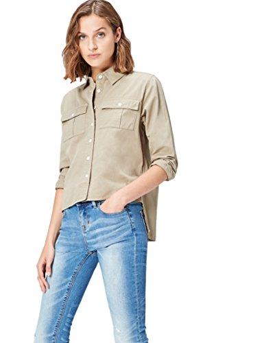 FIND Damen Hemd mit verkürzter Front Grün (Khaki), 38 (Herstellergröße: Medium) (Knopf-front-shirt Grüne)