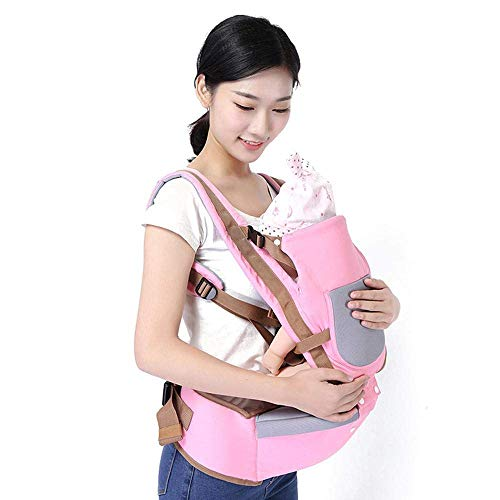 Eulan Carrier Baby Carrier with Hip Seat for Newborn, Baby Wrap Sling Multifunctional Adjustable Infant Toddler Sling Backpack for 0-3 Years (Pink)