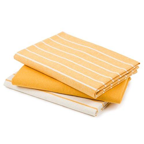 DaWo 3er-Set Geschirrtücher / Küchentücher aus recycelter Baumwolle in Gelb mit Aufhänger | Öko-Tex Standard | weitere Farben erhältlich | 50×70 cm | extra stark mit 200g/m2