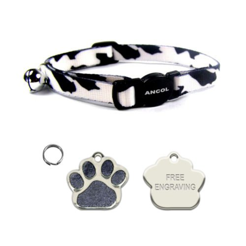 ANCOL Cat Black & White Camouflage Quick Release Collar With Engraved Paw Print Shaped Glitter Cat ID Tag