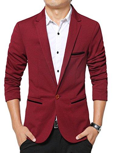 Brinny Herren Slim Fit Sakko Blazer Freizeit Business Jacke Anzugsjacke Jacket Anzugsjacke Mantel Weinrot